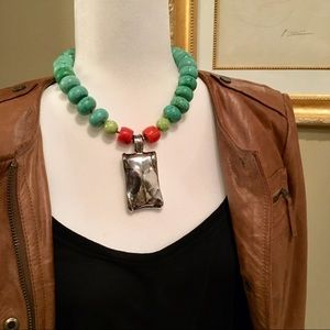 "Simon Sebbag Designs Turquoise Bead Necklace 18"""